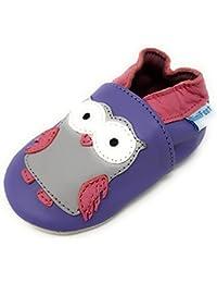 MiniFeet Chaussures Bébé en Cuir Souple - Chaussons Bébé - Chaussures Premiers Pas - 0-6, 6-12, 12-18, 18-24 Mois 2-3, 3-4 Ans