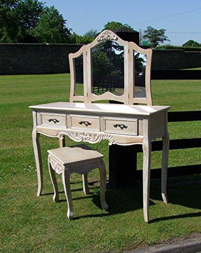 Louis XV Stil gekalkte Eiche Finish Hardwood Schminktisch Set (cy16229) (Schminktisch-set Eiche)