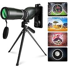 YISSIVIC Telescopio Monocular Telescopio Impermeable Telescopio Terrestre 15-45X 60 Spotting Scope con Trípode Estuche para Navegación, Caza, Observación de Aves y Viaje