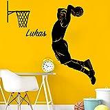 Wandora W1527 Wandtattoo Basketballspieler Wunschname I dunkelgrau 55 x 100 cm I Kinderzimmer Basketball Aufkleber selbstklebend Jungen Jungs