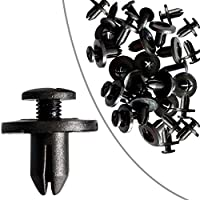 50 Pzas Clips Remaches Negro Cierre Remache de Plastico Tipo de Empuje para Guardabarros de Coche 6mm #9