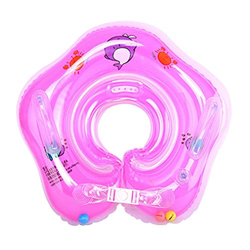 Aolvo Salvagente neonato collo Salvagente gonfiabile del bambino lifebuoy del salvagente 1-24 mesi anello di nuotata dei bambini del ragazzo della neonata -rosa
