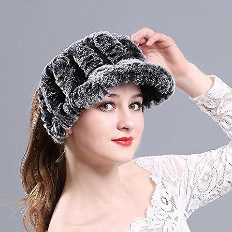 Chapeau De Peluche Femelle Casquette Chaude Décontractée Bouchon De Marée Supérieur Vide Cadeaux De Noël , Cream Black