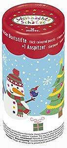 moses. 17032lápices de Lata Navidad, 12lápices de Colores y sacapuntas en Juego