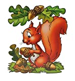dpr. Fensterbild Eichhörnchen Eicheln Blätter Laub Herbst Fenstersticker Fensterdekoration Herbstdekoration