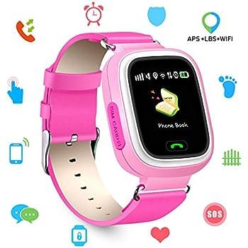 Niños SmartWatch Telefono, GPS LBS WiFi Actividad Tracker Pantalla táctil Inteligente Relojes con Chat SOS Llamar Compatible para iPhone Android (Q90 Rosa)