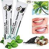 Aktivkohle Zahnpasta - Kokosnuss Schwarze Zahnpasta - Natürliches Weisse Zähne - Whitening Zahnpasta - Zahnaufhellung & Zahnreinigung - Fluoridfreie - Minzgeschmack - für Empfindliche Zähne(2 Weiße)