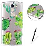 KaseHom Compatible for LG G4 Mini TPU Housse Cas [Gratuit Noir Stylet] Dessin animé Désign Cristal Clair Anti-Rayures Couverture Silicone Durable Protecteur Coquille-Cactus vertCactus Vert