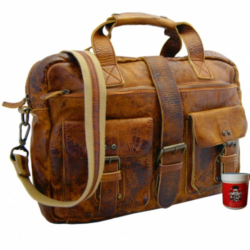 BARON of MALTZAHN - Men's top handle bag - Briefcase LAVOISIER brown Rugged-Hide-Leather