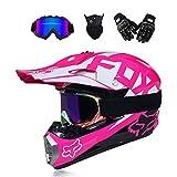 GNB Adult Motocross Helmet Dirt Bike Off Road Motorrad ATV AM Mountainbike Full Helm MX Full Helmet Offroad/Goggles/Mask/Handschuhe (Youth S 52-53cm-XL, 8 Style),Pink,S
