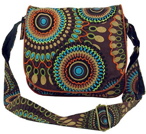 Guru-Shop Schultertasche, Hippie Tasche, Goa Tasche - Braun, Herren/Damen, Baumwolle, Size:One Size, 22x23x5 cm, Alternative Umhängetasche, Handtasche aus Stoff