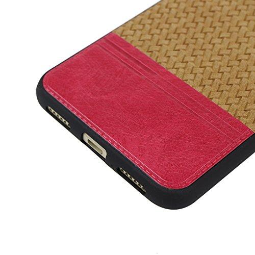 Cover Per Huawei P8 Lite 2017, Asnlove TPU Moda Morbida Custodia Linee Intrecciate Caso Elegante Ultra Sottile Cassa Braided Stile Tessere Case Bumper Per Huawei P8 Lite 2017 - Rosa Marrone
