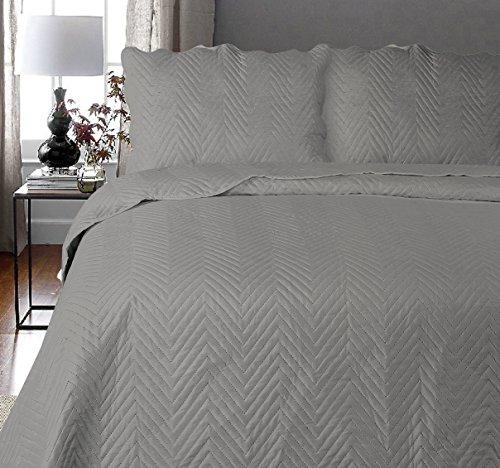 Uni Couette chaude pour lit Patchwork Édredon Jeté de lit   Polyester   Taille 220 x 240 cm   Arcade Gris   par Mode de coton