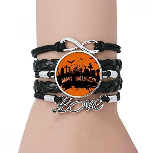 ror Night Friedhof Halloween-Armband Liebe Schwarz Verdrehte-Leder-Seil-Armband ()