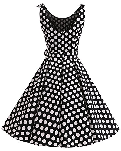 Bbonlinedress 1950er Vintage Polka Dots Pinup Retro Rockabilly Kleid Cocktailkleider Red White Big Dot
