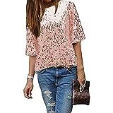 Damen Bluse IHRKleid® Frauen Strapless Pailletten beiläufige lose T-Shirt Tops Langarm weg von der Schulter Hemd Bluse (XXL, Rosa)