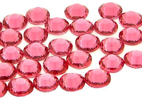 Eimass® Strasssteine, Glas-Diamanten, Kristalle, Edelsteine, Paket mit 1.440Kristallen, Hotfix, flache Rückseite, 25 Farben, 4 Größen, rose, 4 mm