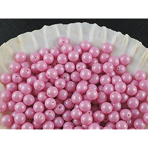 50pc Ceco Vetro Pressato Perle, Imitazione di perle, Tondo Diametro 6 mm, Colore: Baby Pink Pastel