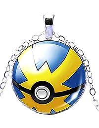 KIRALOVE Collar - Pokemon go - Poke Ball - Pokeball - Trampa - niños - Mujeres - Hombres - Unisex - bisutería - Azul - Amarillo Pokemon go Pikachu Pokeball pokè