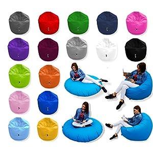 Patchhome 2 in 1 Funktion Sitzsack Sitzkissen Bean Bag - Schwarz - 100cm Durchmesser in 25 Farben und 3 versch. Größen - fertig befüllt