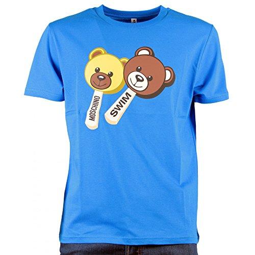Moschino t-shirt girocollo swim, uomo, maglia a maniche corte, maxi stampa frontale 2 orsetti gelato teddy bear, mod. 5a 1904 2813 (azzurro) - xl