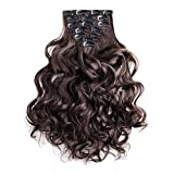 Clip In Extensions braun gewellt gelockt Haarverlängerung Set 60 cm – 7 Haarteile Haarverdichtung