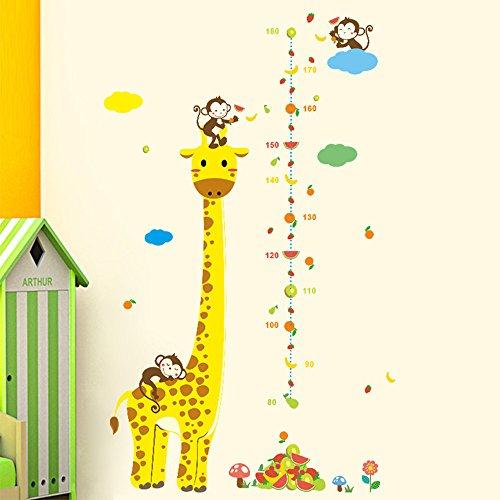Rainbow Fox Kinder Wachstum Diagramm Wandaufkleber Tierzoo Wandtattoo , Affe, Elefant Giraffe Baum Höhenmaß (#3)