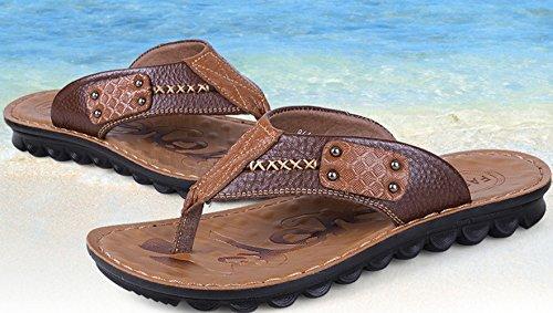 Sommer Herren Slip On Einfache Römische Stil Zehentrenner Lässige Gummi Sohle Anti-Rutsch Strand Sandalen Braun