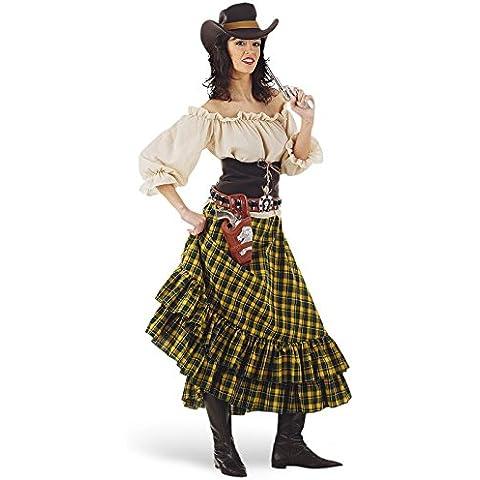 Limit Sport MA617 - Costume da Bandita del West Donna, incl. camicia, gonna, cappello e bustino, 4 pz., L - Lima Cappello