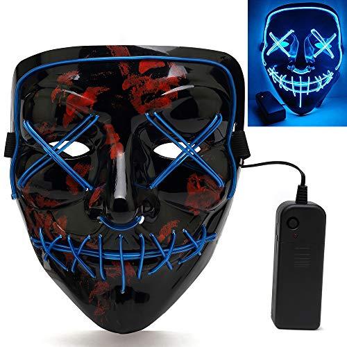 The Purge Maske Halloween Maske LED Leuchten Maske EL Wire mit 4 Einstellbare Blitzmodi Horror Halloween Accessoires für Kostüm Fasching Grimasse Weihnachten Tanzen Festival Party Nacht ()