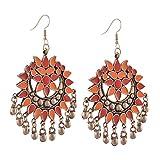 #2: Zephyrr Fashion Multicolor German Silver Afghani Hook Chandbali Dangler Earrings For Women