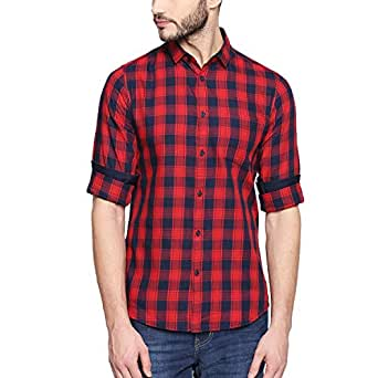 Dennis Lingo Men's Checkered Slim Fit Casual Shirt (C419_RED_M_Red_M)