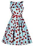 shoperama 50er Jahre Rockabilly Kleid Vintage Retro Kirschen - Cherry, Farbe:Hellblau;Größe: 40