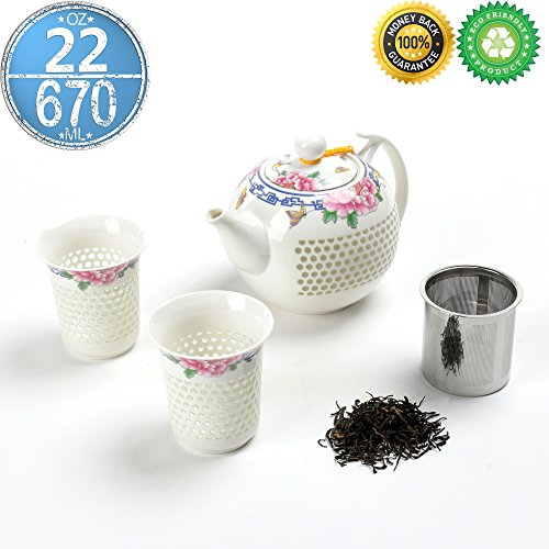 Japanse Porzellan Teekanne Set für 2 mit Infuser, Geschenk-Box, (670 ml) Filter steiler Diffusor, Einweichen 2 Tasse (160 ml), Keramik China asiatischen Japan Koren Erwachsenen Oolong Shinny Teekanne China Serveware-sets