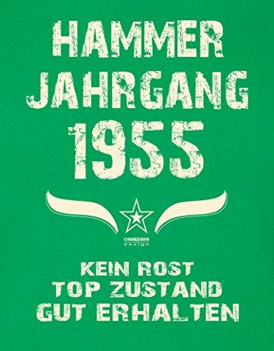 Geschenk zum 62. Geburtstag :-: Herren Geburtstags-Sprüche-T-Shirt :-: Hammer Jahrgang 1955 Farbe: hellgrün :-: Geburtstagsgeschenk Männer :-: Hellgrün