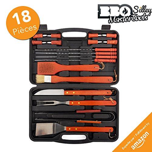 Silley BBQ Mastertools 18 pièces  Mallette Ustensiles pour Barbecue et Plancha de 18 pièces - Ustensiles en acier...