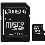 Kingston Carte mémoire flash Micro SDHC avec adaptateur carte SD TF Micro SD HC pour téléphone portable caméra HD Tablette PC PDA Smartphones Lecteurs MP3, noir, 16 Go