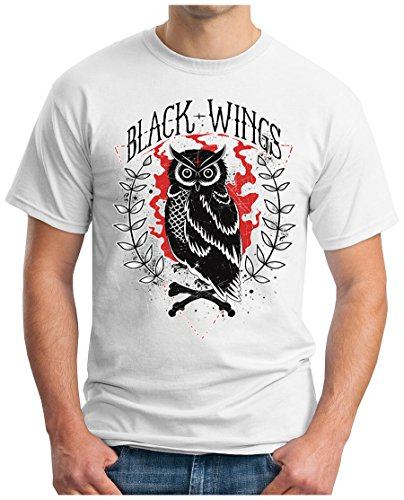 OM3 - BLACK-WINGS - T-Shirt MC SKULL BONES DEAD ROCKER BIKER CLUB 1%er BRO GEEK Weiß