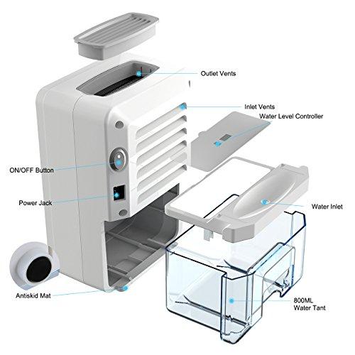 Deshumidificador de aire pequeño,  Deshumidificador termoeléctrico ultra silencioso con tanque de 800 ml (33 oz),  portátil para aire húmedo,  moho,  humedad en el hogar,  cocina,  dormitorio,  sótano