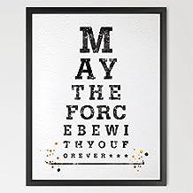 dignovel Studios Eye Chart, Star Wars acuarela ilustración arte impresión de la tipografía impresión decoración del hogar regalo de cumpleaños Póster de película cita inspirador arte n148-unframed