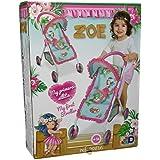 Decuevas Toys - Muñeca Zoe, silla con 4 ruedas, 32x49x56 cm