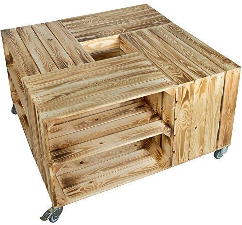 X 90 48cm Couchtisch Abstelltisch Couch Tisch Weinkiste Holzkiste Regal Obstkiste Regaltisch Wohnzimmertisch Geflammt Mit Einlage Obstkisten