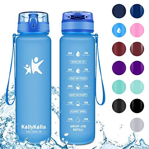 KollyKolla Trinkflasche - BPA-frei Auslaufsicher Sport Wasserflasche, 500ml Tritan Sportflasche Kohlensäure Geeignet Kunststoff mit Filter für Kinder, Schule, Baby, Fahrrad, Gym, Büro, Mattblau