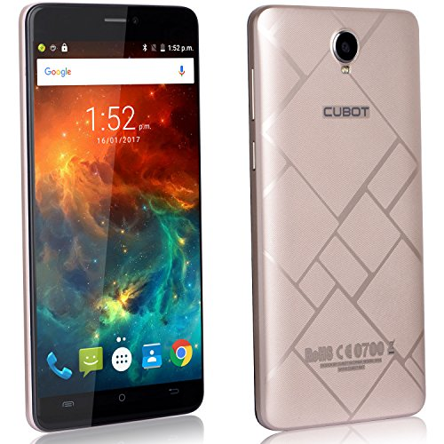 CUBOT Max - Smartphone Libre 4G Android 6.0, (Pantalla táctil 6.0' HD, 4100mAh batería, 3GB Ram + 32GB ROM, Octa core, Dual SIM, Cámara 13Mp, 1.3 GHz), color Dorado[ CUBOT OFICIAL ]