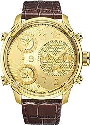 JBW Luxury Men's G4 0.16 Carat Diamond Wrist Watch with Leather Brac