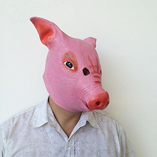 dairyshop Pig Kopf Maske mit Haar Halloween Party Creepy Scary Latex Masken (Mädchen Kostüme Halloween Sorority)