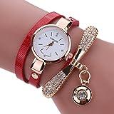LSAltd Heiß Verkauf!!! Frauen Mädchen Klassische Lederne Rhinestone Uhr analoge Quarz Armbanduhren Großes Geschenk (Rot)