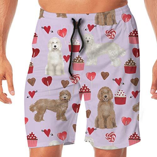 Jocper Labradoodle Valentines Day Cupcakes einzigartige Hunderasse Stoff Purple_646 Männer Badehose surfen Strand Urlaub Party Badeshorts Strandhosen XL