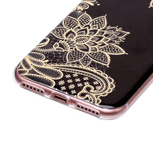 iPhone 7 Hülle Marmor, iPhone 8 Case Rosa Schleife Ultra Dünn Slim Silikon Backcover mit Bunte Marmor Muster Bumper Schale Schutzhülle Handyhülle für iPhone 7 / 8 Gold Blume