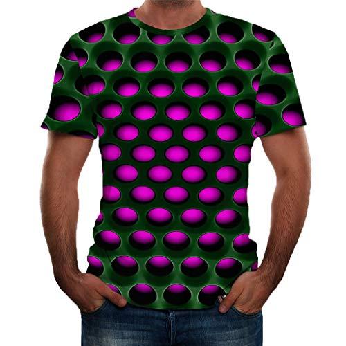 Tyoby Herren 3D Druckten Sommer-beiläufige Kurze Hülsen-T-Shirts T-Stücke Bequem Neon T-Shirt Mode Herrenbekleidung(rot,XL)